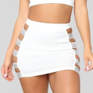 White Stretch Mini Skirt with Glitter Cut Outs